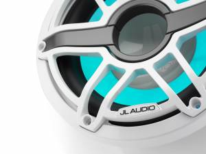 JL Audio - JL Audio M6-10IB-S-GwGw-i-4 10-inch (250 mm) Marine Subwoofer Driver with Transflective™ LED Lighting, Gloss White Trim Ring, Gloss White Sport Grille, 4 ohm - Image 1