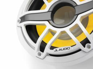 JL Audio - JL Audio M6-10IB-S-GwGw-i-4 10-inch (250 mm) Marine Subwoofer Driver with Transflective™ LED Lighting, Gloss White Trim Ring, Gloss White Sport Grille, 4 ohm - Image 3