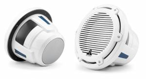 JL Audio M6-10W-C-GwGw-4 10-inch (250 mm) Marine Subwoofer Driver, Gloss White Trim Ring, Gloss White Classic Grille, 4 ohm