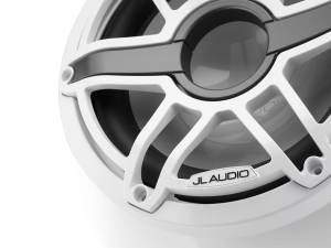 JL Audio M6-10W-S-GwGw-4 10-inch (250 mm) Marine Subwoofer Driver, Gloss White Trim Ring, Gloss White Sport Grille, 4 ohm
