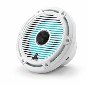 Marine - Speakers - JL Audio - JL Audio M6-650X-C-GwGw-i 6.5-inch (165 mm) Marine Coaxial Speakers with Transflective™ LED Lighting, Gloss White Trim Ring, Gloss White Classic Grille