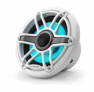 Marine - Speakers - JL Audio - JL Audio M6-650X-S-GwGw-i 6.5-inch (165 mm) Marine Coaxial Speakers with Transflective™ LED Lighting, Gloss White Trim Ring, Gloss White Sport Grille