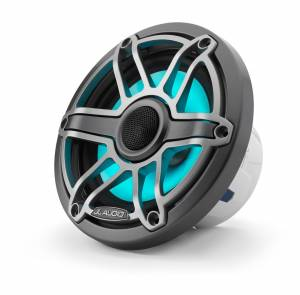Marine - Speakers - JL Audio - JL Audio M6-650X-S-GmTi-i 6.5-inch (165 mm) Marine Coaxial Speakers with Transflective™ LED Lighting, Gunmetal Trim Ring, Titanium Sport Grille