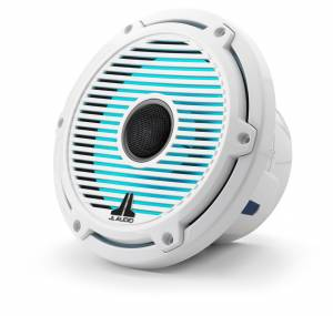 Marine - Speakers - JL Audio - JL Audio M6-770X-C-GwGw-i 7.7-inch (196 mm) Marine Coaxial Speakers with Transflective™ LED Lighting, Gloss White Trim Ring, Gloss White Classic Grille