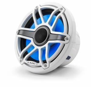 Marine - Speakers - JL Audio - JL Audio M6-770X-S-GwGw-i 7.7-inch (196 mm) Marine Coaxial Speakers with Transflective™ LED Lighting, Gloss White Trim Ring, Gloss White Sport Grille