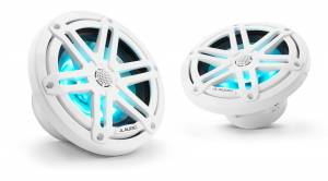 Marine - Speakers - JL Audio - JL Audio M3-650X-S-Gw-i 6.5-inch (165 mm) Marine Coaxial Speakers, Gloss White Sport Grilles with RGB LED Lighting