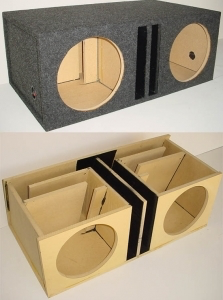 Custom Subwoofer Boxes - Slotted Port - Audio Dynamics - Audio Dynamics [HB2x12SPL2] Dual 12'' Transmission Line Advanced Slot Ported Sub Box
