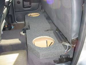 "Custom Subwoofer Boxes - Dodge - Audio Dynamics - Audio Dynamics [dodgeq210] 2002-2008 Dodge Ram Quad Cab 2-10"" Sub Box"